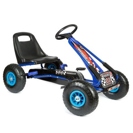 Pedal-Go-kart-with-inflatable-wheels-in-blue-and-black-rear-wheel