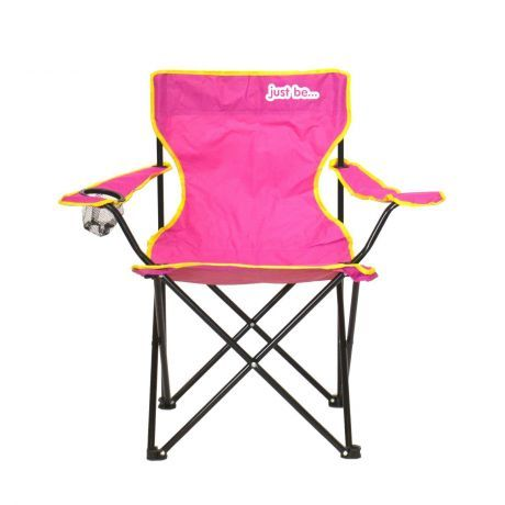just be Dark Pink Foldable Camping Chair Yellow Trim