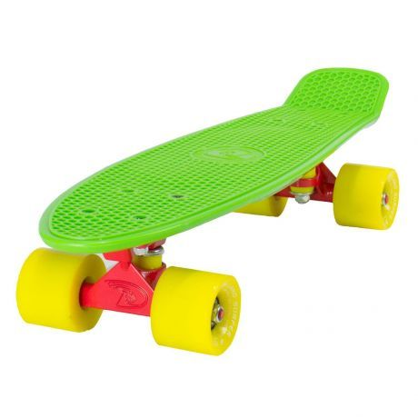 Land Surfer Cruiser Green Skateboard Yellow Wheels Red Trucks