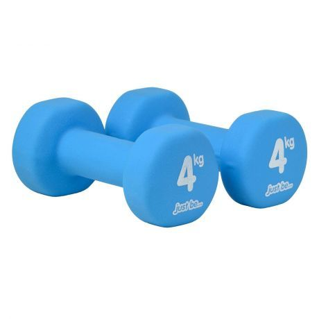 just be Blue 4kg Fitness Dumbbells Twin Pack Side View
