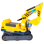 Yellow kids ride on boppi digger excavator with rotating cabin on a white background