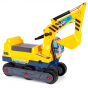 Yellow kids ride on boppi digger excavator on a white background