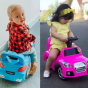A pink and a blue boppi ride on sports car with a girl and boy toddler sitting on and driving the cars inside and outside