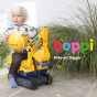 Yellow boppi ride on excavator digger with child playing on it in a garden for ages 12 months to 3 years