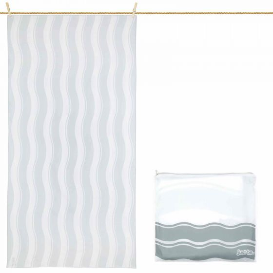 just be... Microfibre Wave Beach Towel - Grey Large 160 x 80cm