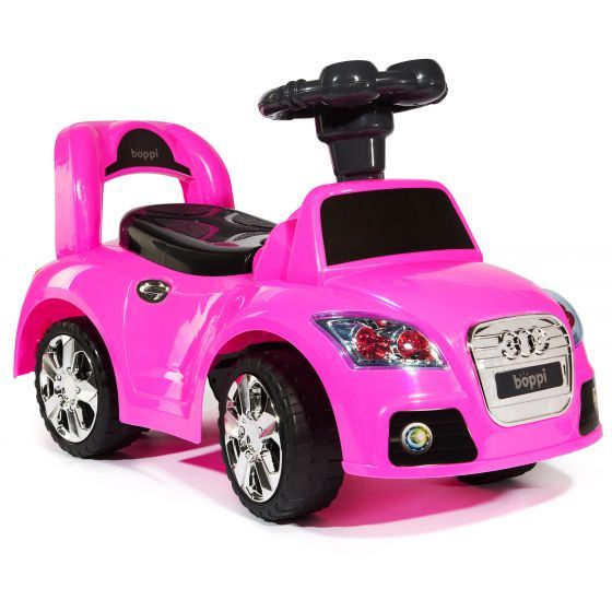 A pink boppi ride on sports car for toddlers on a white background