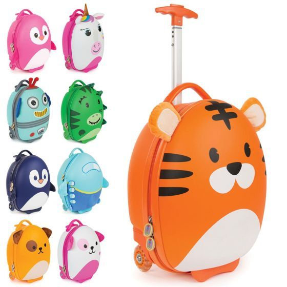 The boppi Tiny Trekker Luggage case with handle half extended and showing the following smaller image designs in the range: pink penguin, unicorn, robot, dinosaur, blue penguin, aeroplane, dog and pink dog on a white background.