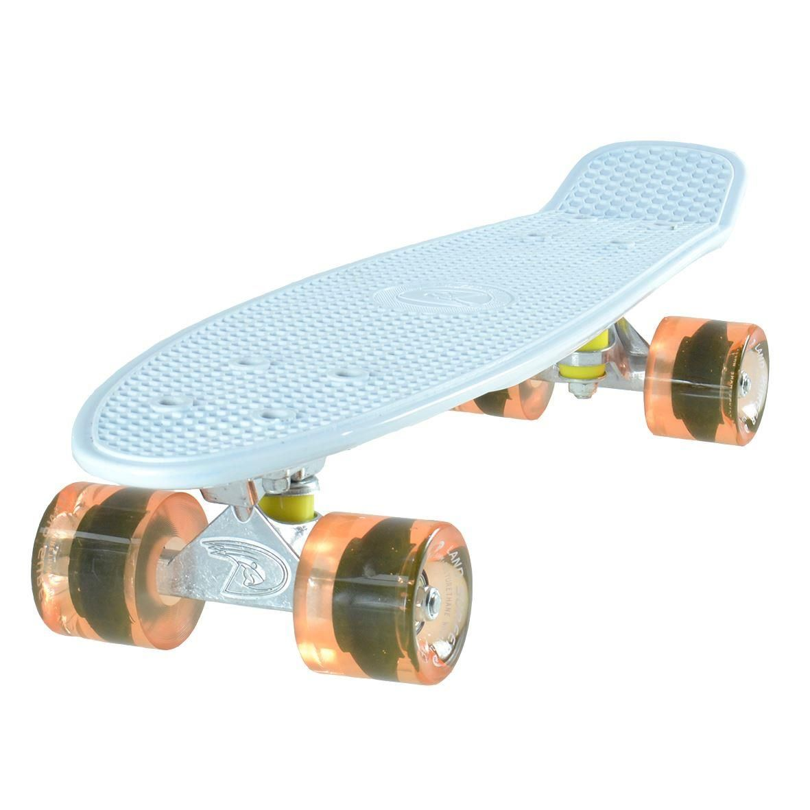 Land Surfer Cruiser White Skateboard Transparent Orange Wheels