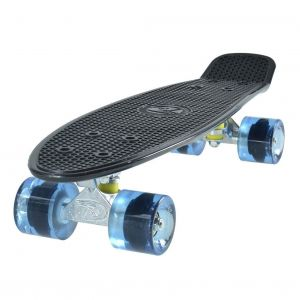 and Surfer CruiserBlack Skateboard Transparent Blue Wheels