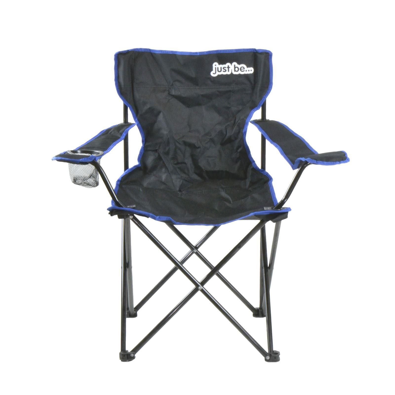 just be Foldable Black Camping Chair with Blue Trim