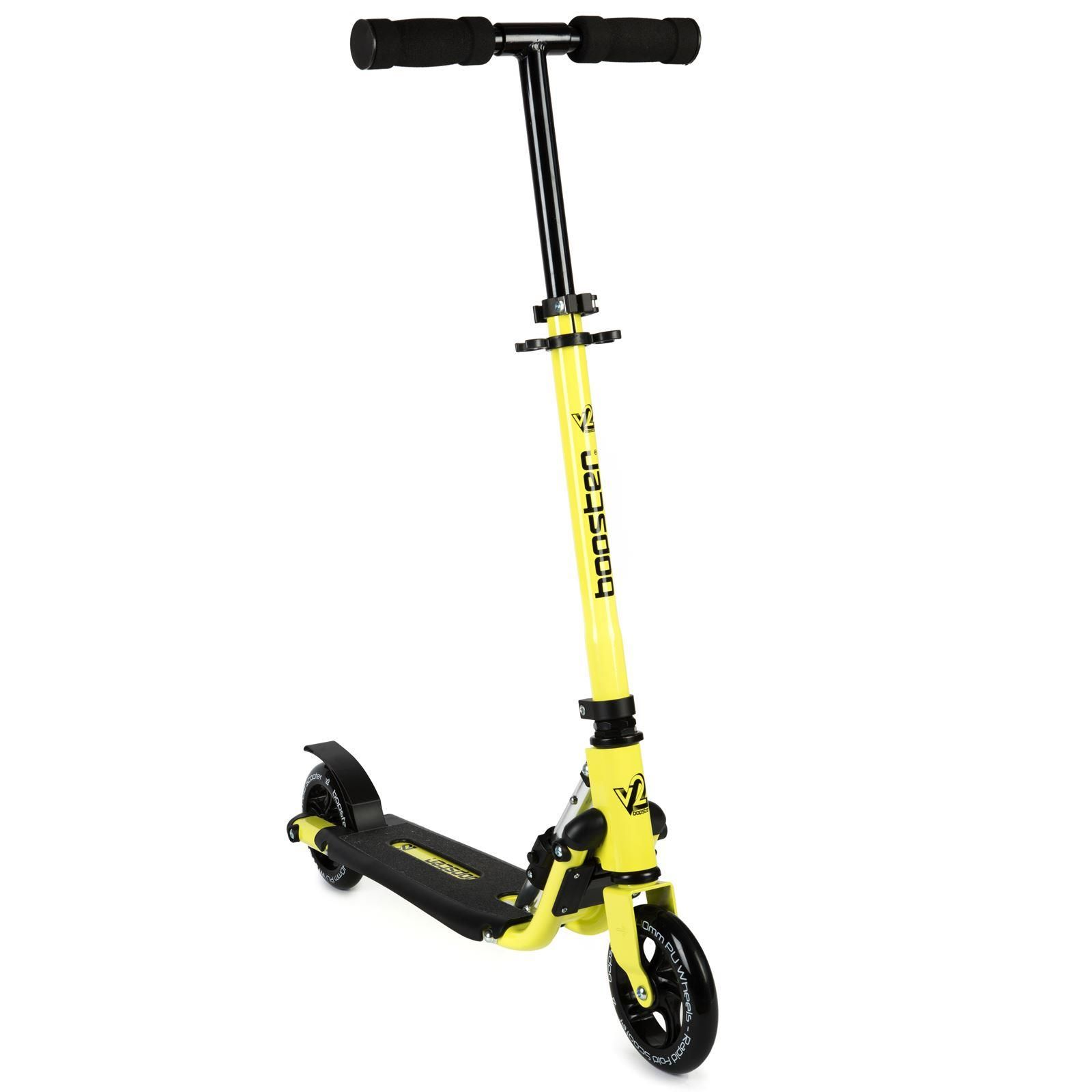 bopster 2 wheeled scooter folding v2 yellow neon