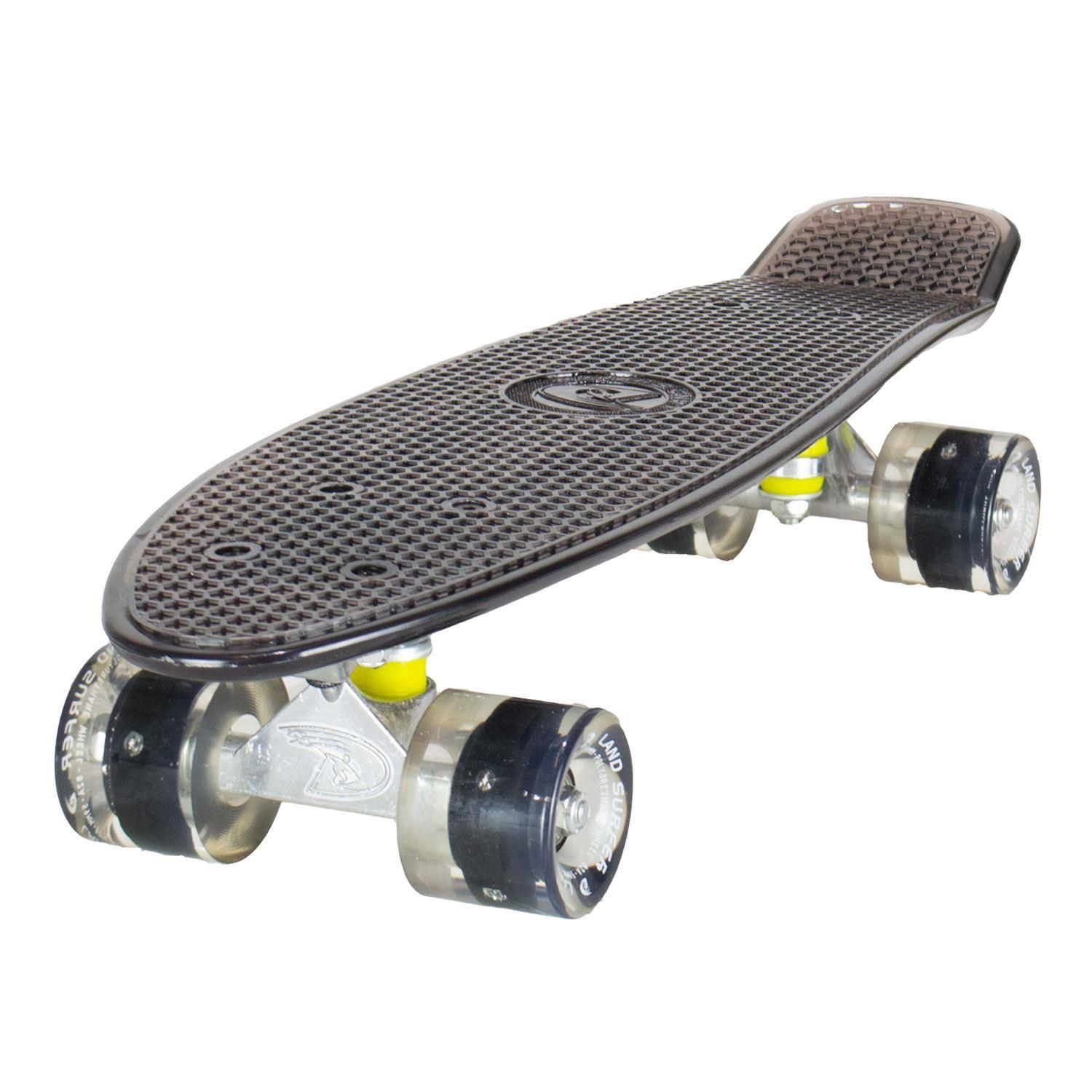 Land Surfer Cruiser Clear Black Skateboard Black LED Wheels