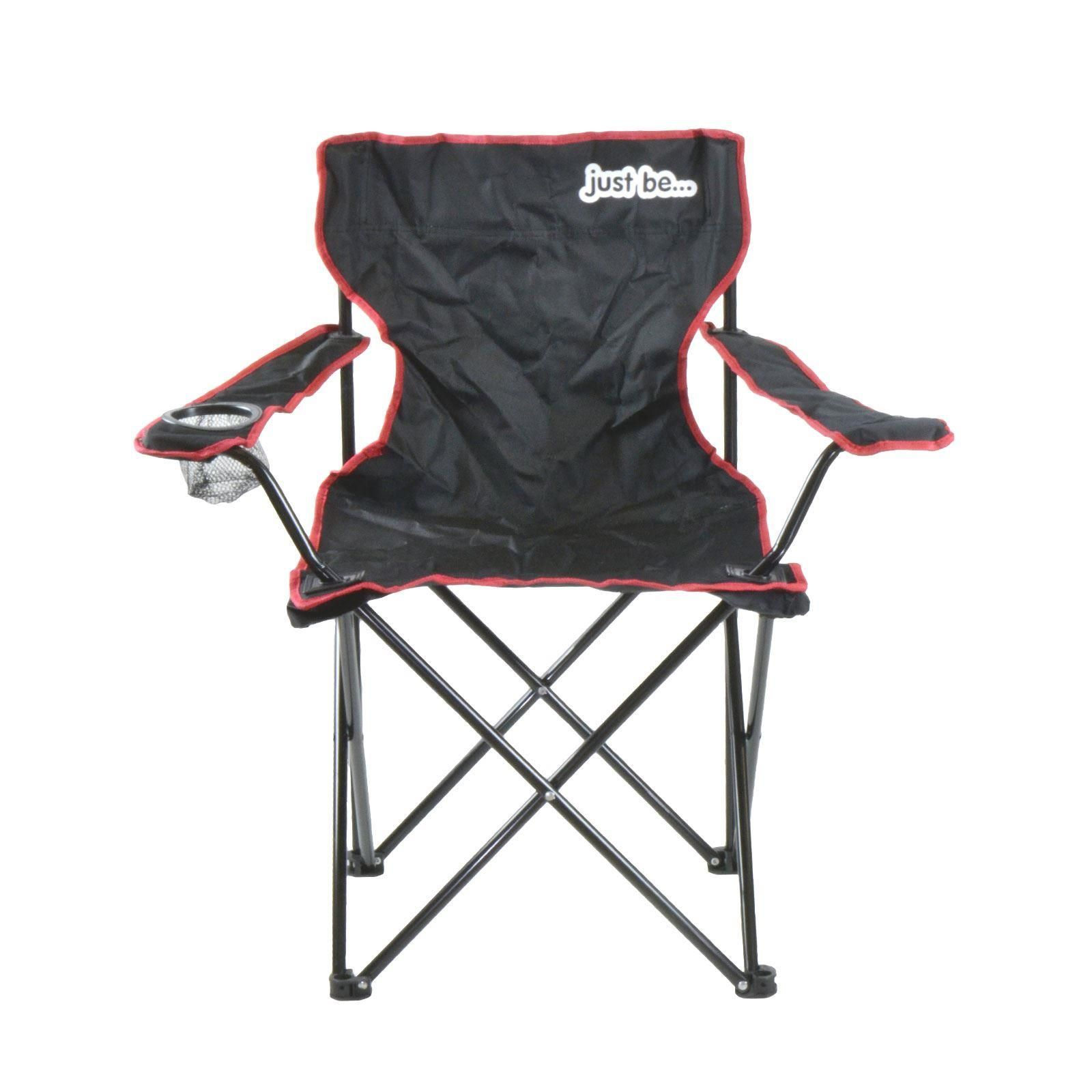 just be Black Foldable Camping Chair Red Trim