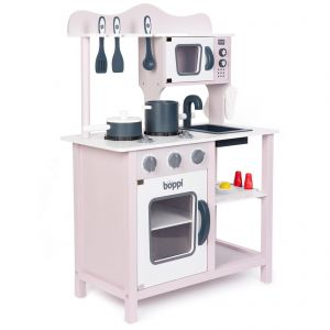 Wooden Toy Kitchen with 20 piece Accessory Set - Mauve